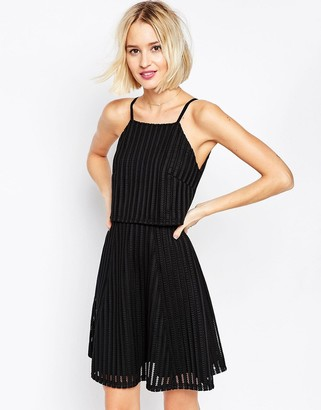 Asos Design Double Layer Skater Dress in Textured Fabric-Black