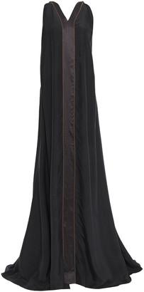 Brunello Cucinelli Cutout Satin-trimmed Bead-embellished Silk-chiffon Maxi Dress