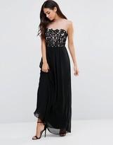 Little Mistress Bandeau Maxi Dress With Contrast Lace Detail