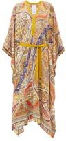 Etro Handkerchief-hem Paisley-print Crepe Kaftan - Womens - Beige Multi