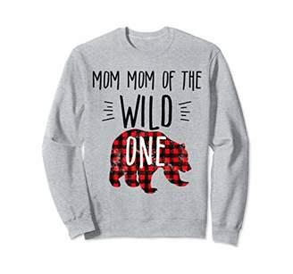 Buffalo David Bitton Mom Mom of Wild One 1 Plaid Lumberjack 1st Birthday Sweatshirt
