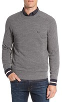 Fred Perry Stripe Cuff Piqué Knit Crewneck Sweater