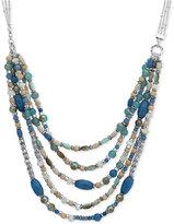 Nine West Silver-Tone Multi-Row Beaded Collar Necklace