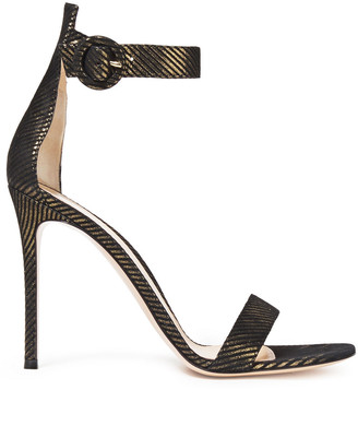 Gianvito Rossi Portofino 105 Metallic Striped Suede Sandals