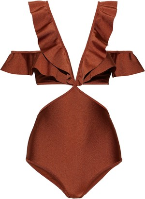 Zimmermann Tali Flutter Cold-shoulder Cutout Swimsuit