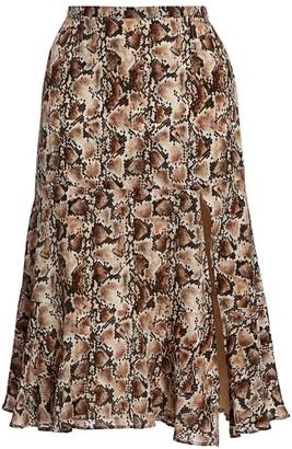 Altuzarra Clementine Snakeskin-Print Silk Midi Skirt