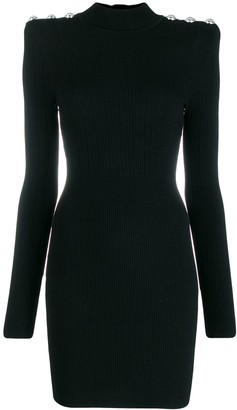 Balmain Square-Shoulder Ribbed Dress