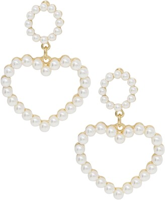 Ettika Imitation Pearl Heart Earrings