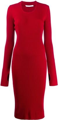 Helmut Lang long sleeve stretch fit dress