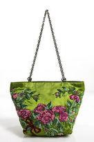 Valentino Garavani Green Silk Beaded Floral Mini Satchel Handbag