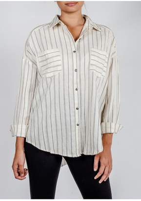 ALL IN FAVOR Oversized Striped Button-Down