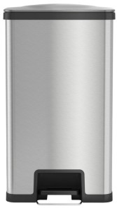 Halo AirStep 18 Gallon Step Trash Can with Deodorizer, Stainless Steel