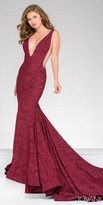Jovani Glitter Jersey Plunging Prom Dress with Sweep Train