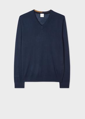 Paul Smith Men's Dark Navy Merino Wool V-Neck Sweater