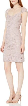 Marina Women's Short Dress with Sweetheart Neckline Sheer Lace Back and Center Back Keyhole