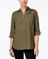 Style&Co. Style & Co Style & Co Petite Cotton Embroidered Shirt, Created for Macy's