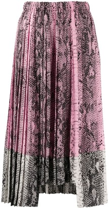 No.21 Snakeskin Effect Pleated Skirt