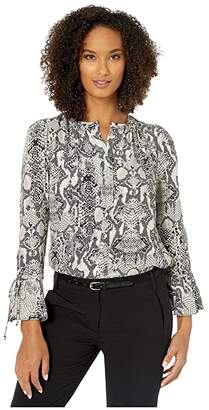 Elliott Lauren Snakeskin Pullover Shirt with Drawstring Cuff (Ivory/Grey) Women's Clothing