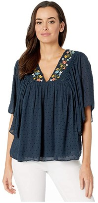 Miss Me Floral Embroidered Blouse (Navy) Women's Clothing