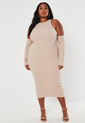 Missguided Plus Size Sand Ribbed Cold Shoulder Midaxi Dress