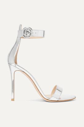 Gianvito Rossi Portofino 105 Metallic Leather Sandals - Silver