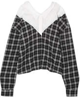 Unravel Project - Paneled Checked Cotton And Silk-blend And Poplin Shirt - Black