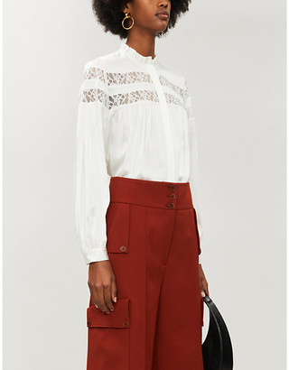 Frame Lace-panelled silk-satin blouse