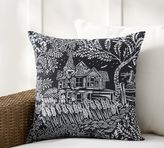 Pottery Barn Spooky House Print Indoor/Outdoor Pillow