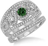 JeenJewels 2 Carat Emerald & Diamond Trilogy set Ring on 10k White Gold