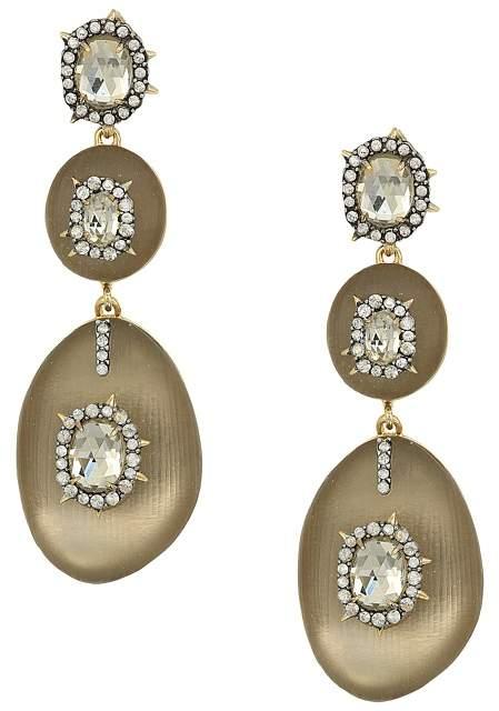 Alexis Bittar Triple Lucite Drop Post Earrings w/ Crystal Bezel Detail