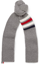 Thom Browne Striped Ribbed Wool Scarf - Gray