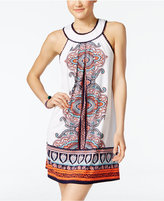 Trixxi Printed Crochet-Trim Halter Dress