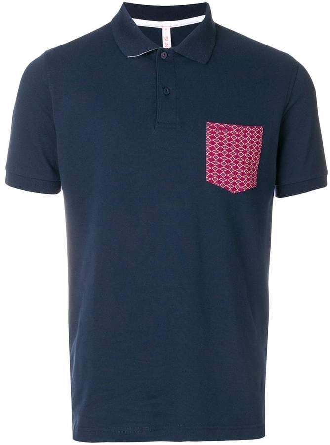 Sun 68 contrast pocket polo shirt