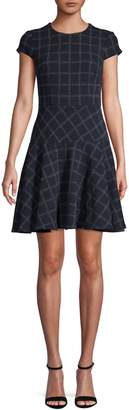 Eliza J Windowpane Cotton-Blend Fit--Flare Dress