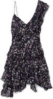 Isabel Marant Manda Floral-print Metallic Fil Coupé Silk-blend Mini Dress - Midnight blue