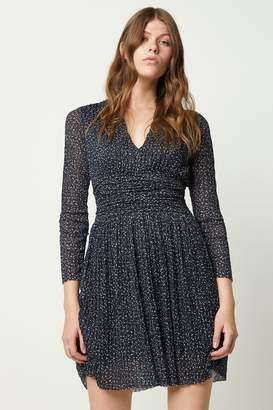 French Connection Womens Tabia Print Pleated Jersey V-Neck Dress - Natural