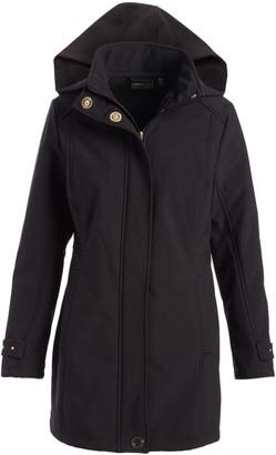 Weatherproof Women's Non-Denim Casual Jackets Black - Black Hooded Softshell Walker Jacket - Women
