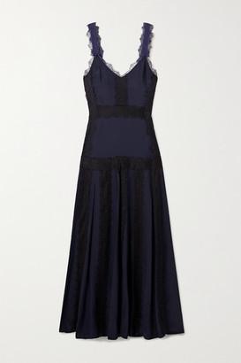 La Ligne Maggie Lace-trimmed Silk-georgette Maxi Dress - Midnight blue