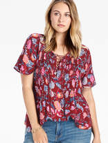 Lucky Brand Red Floral Peasant Top