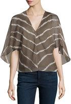 Halston V-Neck Flutter-Sleeve Striped Blouse, Sage