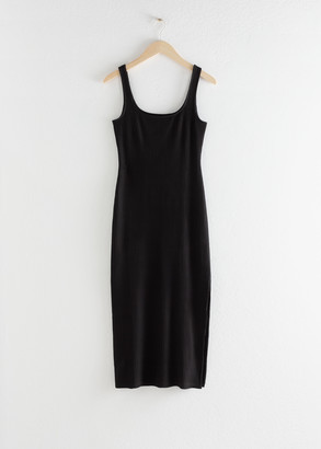 And other stories Ribbed Fitted Midi Dress