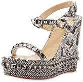 Christian Louboutin Cataclou Studded Snakeskin Red Sole Wedge Sandal, Roccia/Gunmetal