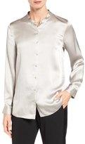 Eileen Fisher Hammered Silk Satin Mandarin Collar Blouse (Regular & Petite)