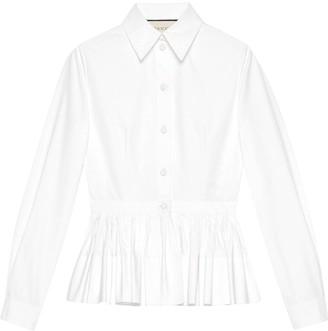Gucci Peplum Button Down Cropped Shirt