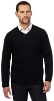 J By Jasper Conran Big And Tall Navy Merino Wool V Neck Jumper