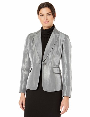 Kasper Women's Petite 1 Button Notch Collar Metallic Jacket