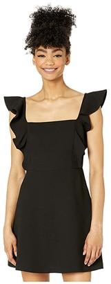 BCBGeneration Ruffle Sleeve Square Neck Dress - GEF6270355 (Black) Women's Dress