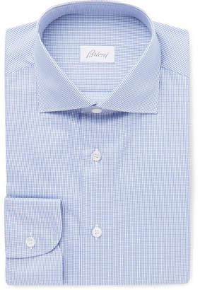 Brioni Light-Blue Cutaway-Collar Puppytooth Cotton Shirt