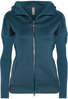 adidas by Stella McCartney Z.n.e Stretch-jersey And Ribbed-knit Hooded Top - Petrol