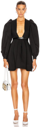Valentino Plunging Long Sleeve Mini Dress in Nero | FWRD